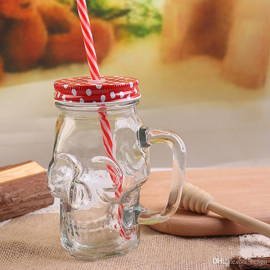 Skull Straw Glass Mug With Lid Handle 400ml Large Mason Juice Drink Cup Creative SKull Shaped Mug Cold Drinking Bottles DH1189-1 T03