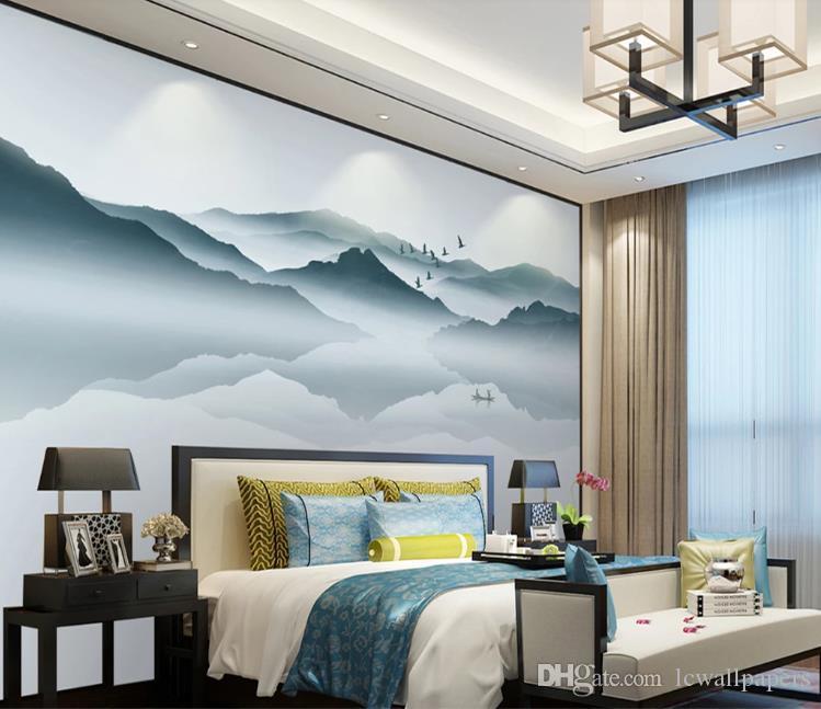 Personalizado cualquier tamaño 3D papel pintado abstracto tinta paisaje Fondos mural salón sofá dormitorio Decoración para el hogar