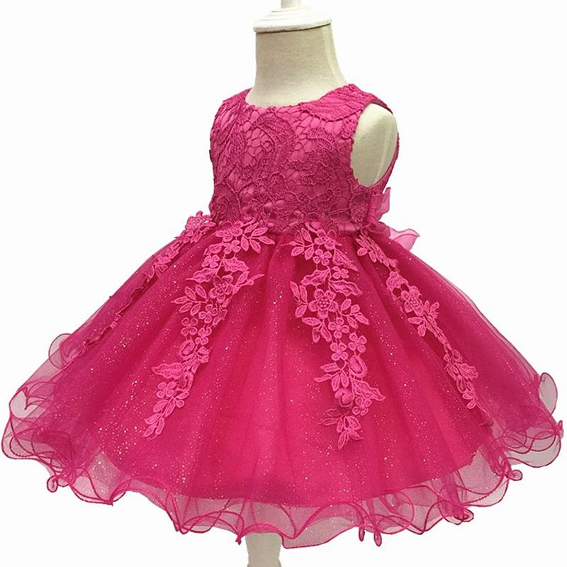 Baby Girls Dress 2018 New Summer Infant Lace Party Dress For Girls 1 Year Birthday Dress Wedding Christening Gown Kids Clothes Y19061101