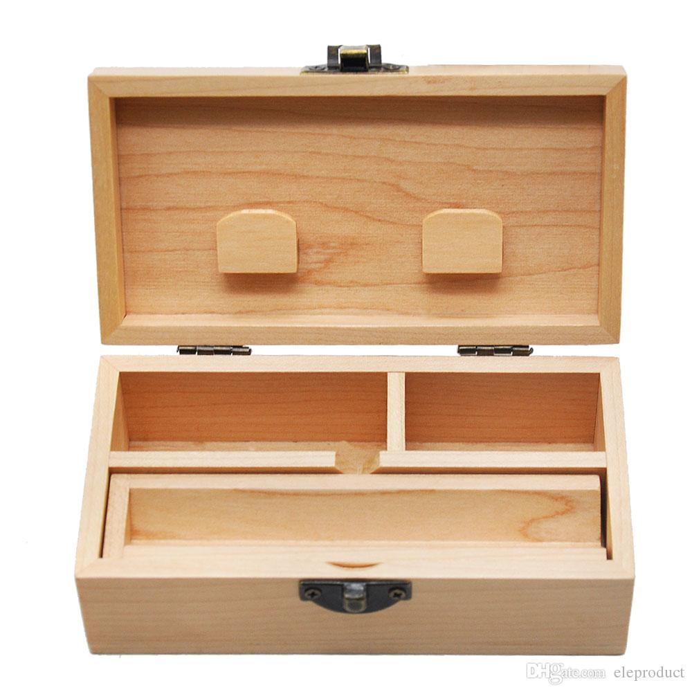 Madeira Stash Box Com Bandeja Do Rolling Handmade Madeira Tabaco Herbal Caixa de armazenamento Para cachimbo Acessórios