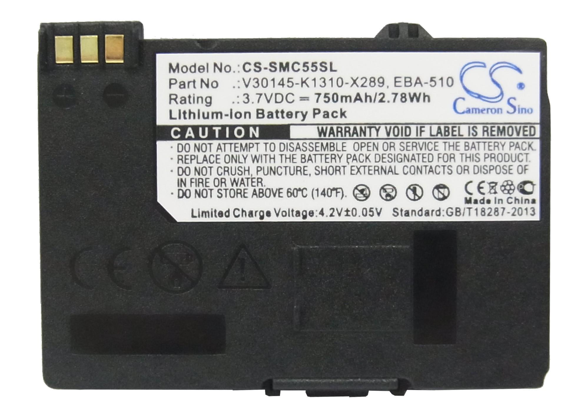 كاميرون سينو عالية الجودة 750 مللي أمبير في الساعة بطارية EBA-510 لشركة سيمنز A51 ، A52 ، A55 ، A56 ، A57 ، A60 ، A62 ، A65 ، A75 ، C55 ، C56 ، C60 ، C60 ، C61 ، C70 ، C71 ، A70