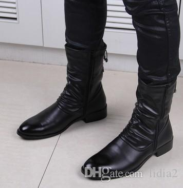 Free Shipping New Arrival Hot Sale Specials Super Martin High Help Cowboy Influx Leather Black Fashion Increased Mens Ankle Boots EU37-45