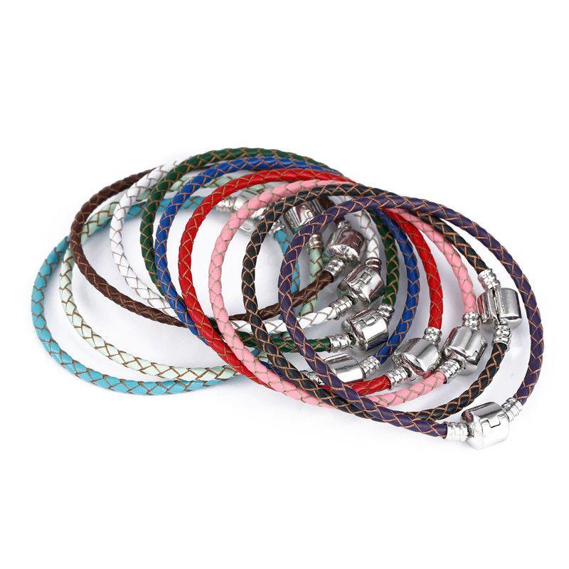 Haute qualité Fine Jewelry Woven 100% cuir véritable Bracelet Mix taille 925 argent fermoir perle Convient Pandora Charms Bracelet DIY marquage WCW235