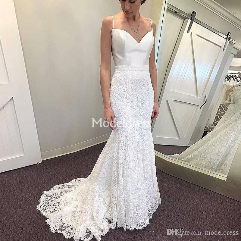 Dentelle élégante sirène robes de mariée spaghetti balayage train Garden Robes de mariée Campagnard Vestidoe De Noiva personnalisé