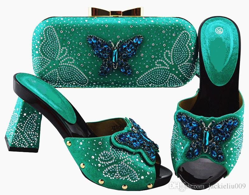 Самые популярные чирок женщин насосы и сумка набор с бабочкой Кристалл украшения африканской обуви матч сумочка JZS-05