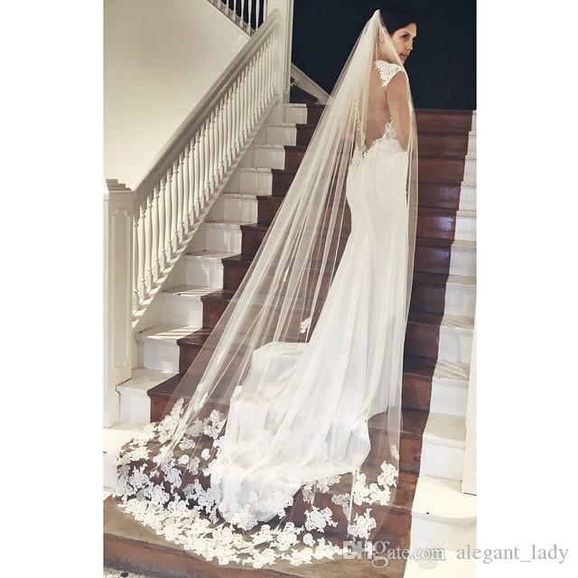 Лучшие продажи Самые дешевые в наличии Длинная часовня длина Bridal вуаль Appliques 2019 Veu de Noiva Longo Свадебная вуаль кружева Purfle с расческой