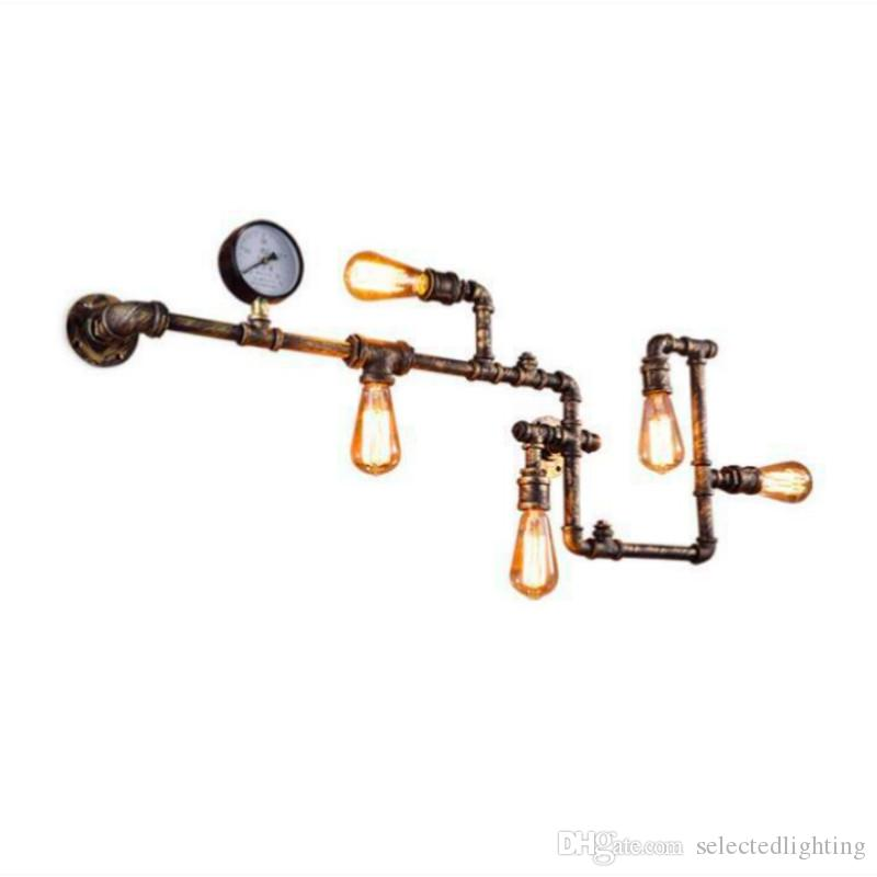 Vintage Industrial Water Pipe Wall Lamp E27 110-240V Wall Art Sconce Loft Light For Modern Home Decoration