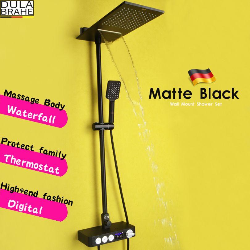 온도 조절기 목욕 믹서 샤워 꼭지 밸브 블랙 샤워 시스템 패널 황동 강우 폭포 샤워 헤드