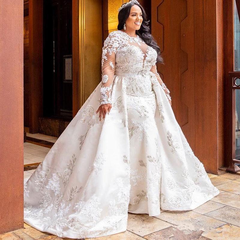 Talla grande Vestidos de novia de la sirena de lujo con el tren desmontable Cuello de la joya del cuello 3D con cuentas con cuentas de manga larga vestidos nupciales Tulle Vestido de Novia