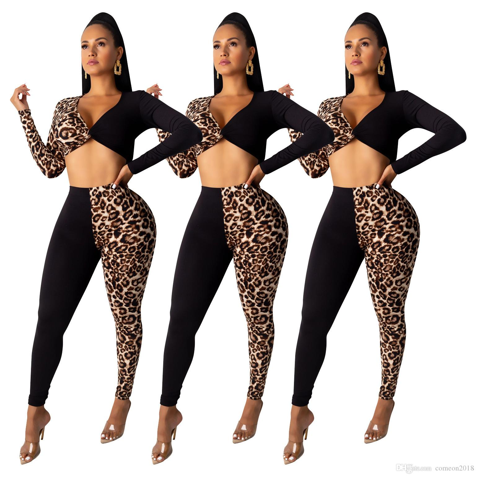 Leopard Print 2 Piece Set Pants Sexy Women Tracksuit Female Long Sleeve Crop Top With Pant Casual Party Club Autumn Matching Set Outfits