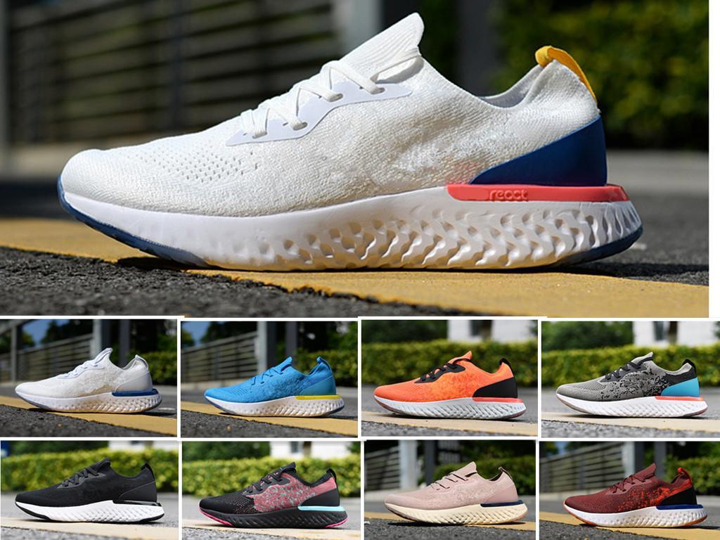 Nike Epic React Flyknit Hococal 2020 En İyi Fly Erkek Koleji Donanma Üçlü Siyah Koyu Gri Örme Tasarımcı Spor Sneakers Eğitmenler 5.5-11 Ayakkabı Koşu Tepki