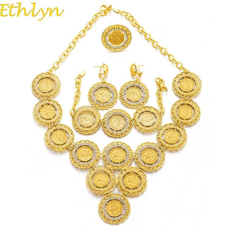 Ethlyn Turquía collar de la moneda / Sistemas de la joyería del pendiente del anillo / pulsera / para regalos de monedas de oro Color mujeres del banquete de boda de novia S181