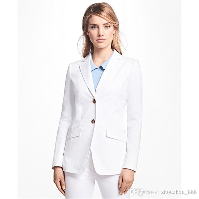 Novas mulheres single-breasted Magro cor sólida terno terno de duas peças (casaco + calça) senhoras escritório de negócios oficial profissional personalizado