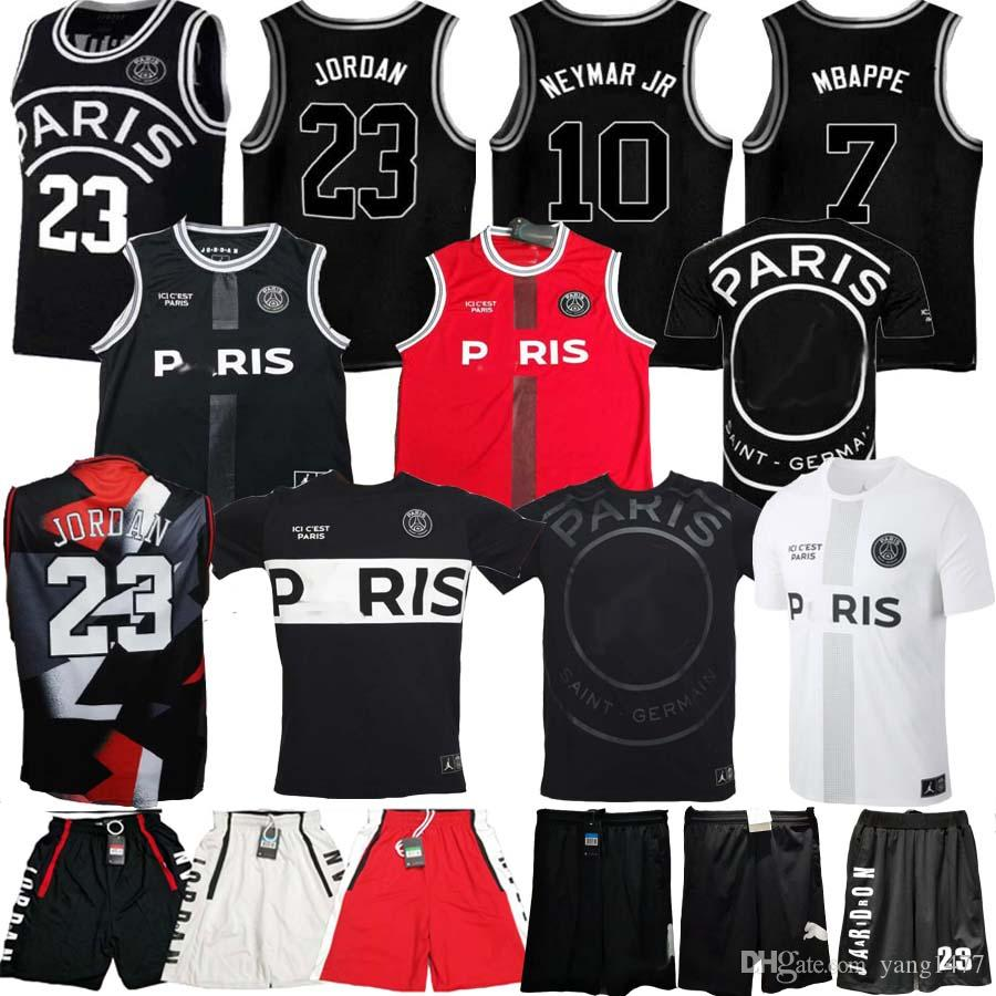 2019 PSG Paris Jersey 23 Michael JD MBAPPE Playeras de baloncesto de París PSG X AJ Camiseta de baloncesto Jordam Paris Saint Camiseta de fútbol Maillot