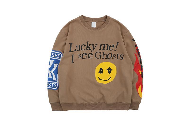 Lucky Me I see Ghosts Sudaderas Hombre 2019 Spring Letters Flame Impreso Hip Hop Sudadera Terry Hombre Sudaderas