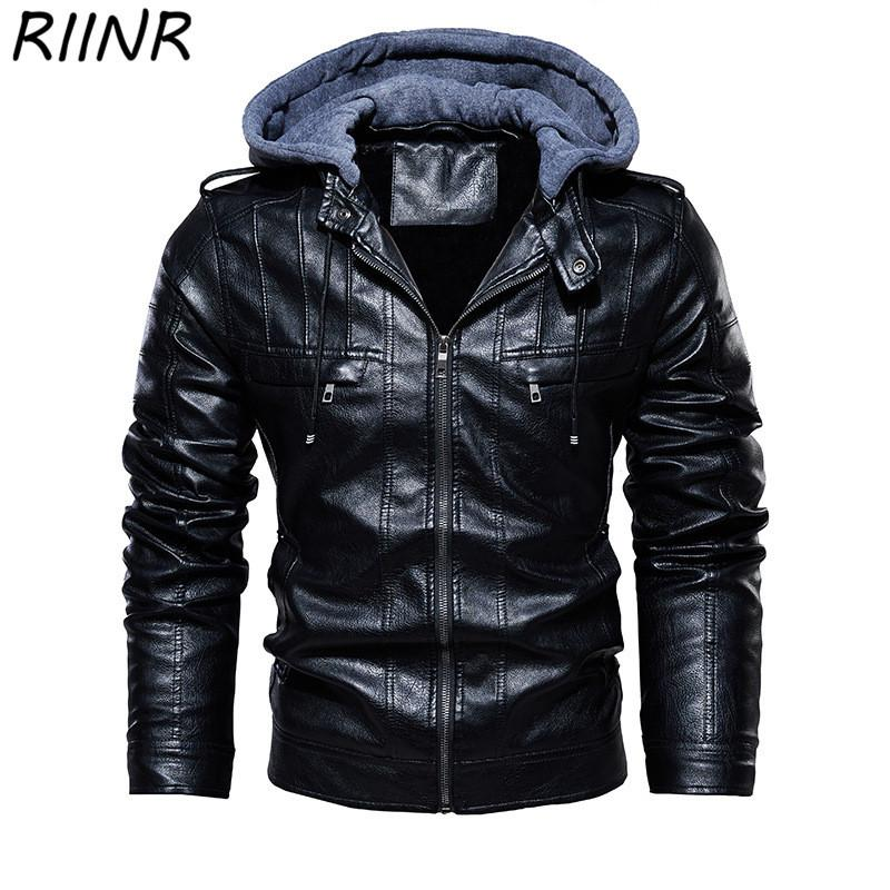 RIINR New Solid Fashion Winter Pu Hooded Jacket Mens Thick Warm Street Style Zipper Jackets Man Casual Jacket Male Coat L-6XL