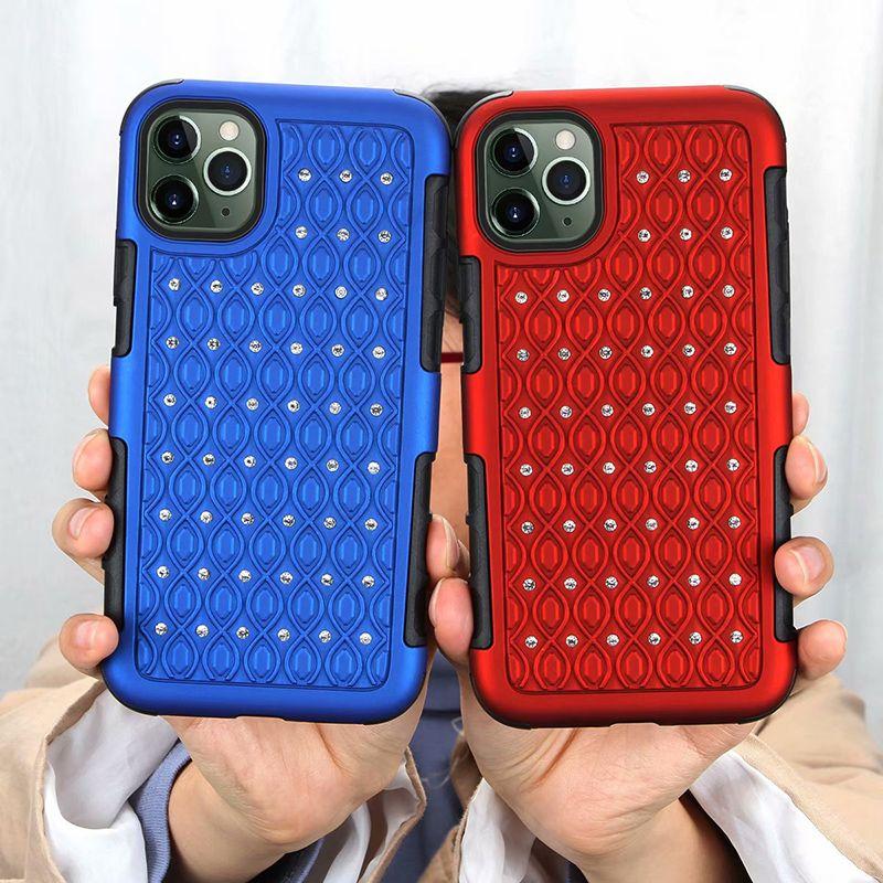 Moda Diamond 2 em 1 Casos TPU + PC híbridos estrelas da capa para iphone 11 Pro max Samsung Nota 10 PLUS A10 A20 A30 A50