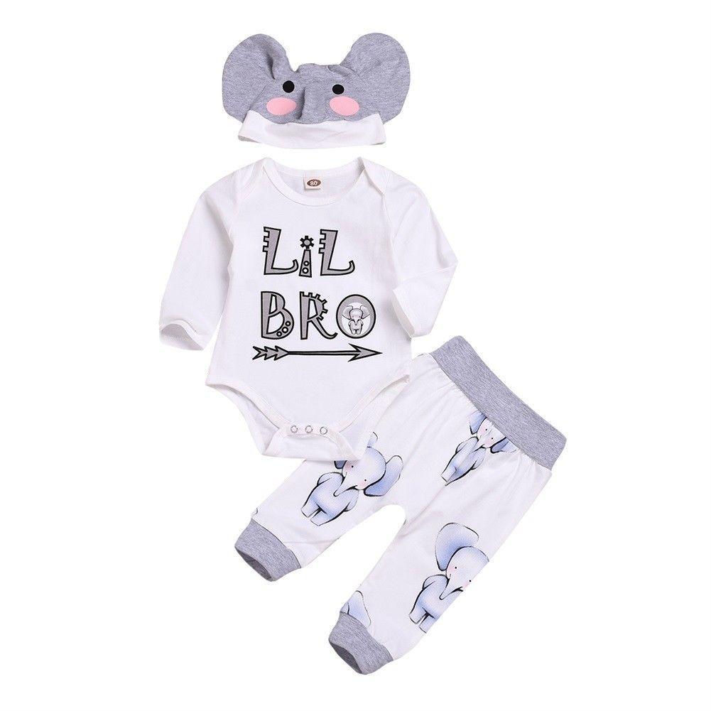 3pcs Newborn Baby Boy Little Brother Clothes Sets Letter Print Tops Romper +Pants+Elephant Hat Outfits Set Clothes