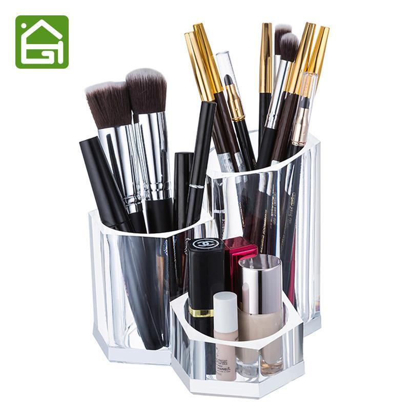 Прозрачный акриловый макияж держатель щетки Косметические Организатор Box для губной помады Eyeliner Карандаш Лак для ногтей Y200111
