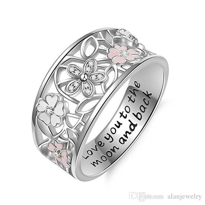 Europe and the United States sell creative drop rubber diamond cherry flower ring love you to the moon and back