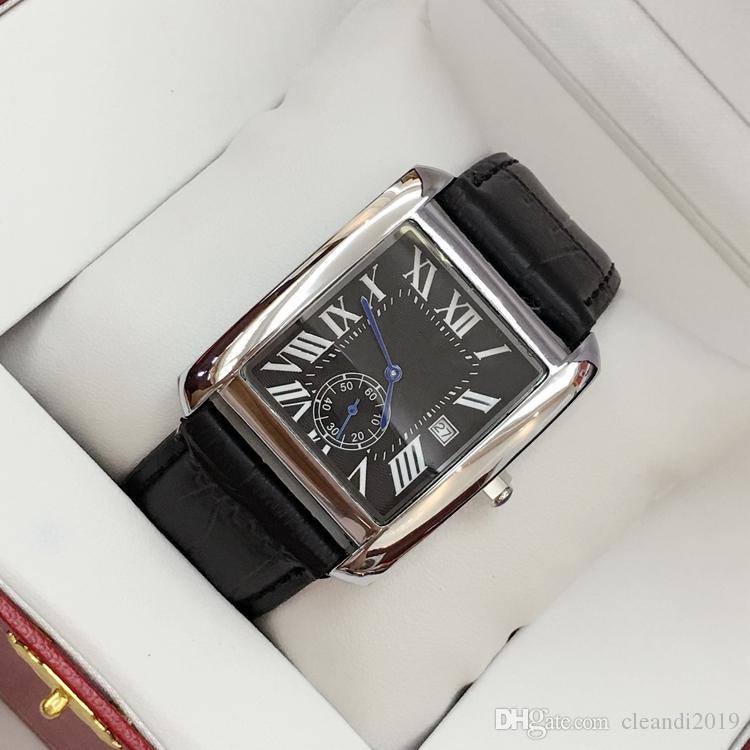 2019 Moda homem relógio de couro Quadrado de luxo masculino relógio de pulso com data de alta qualidade de aço preto / marrom homem de couro relógios frete grátis