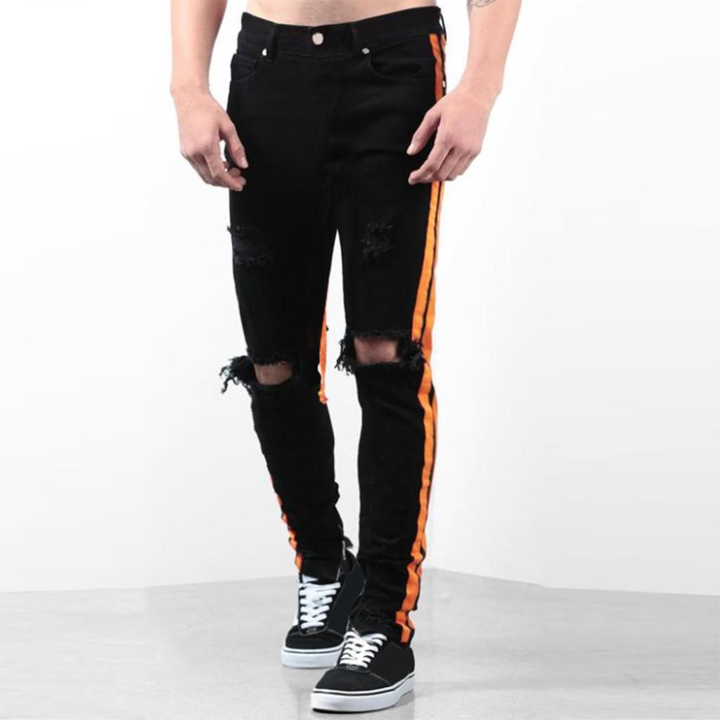 Gli uomini dimagriscono casuale skinny jeans in cotone foro diritto pantaloni Pantaloni jeans strappati Hip hop ansima Distressed Jeans Denim 8.14