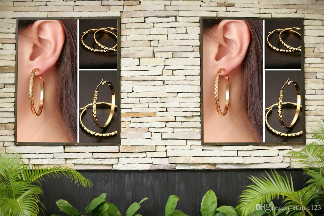 여성 J159에 골드 컬러 패션 간단한 레이디의 원형 귀걸이 스테인레스 스틸 큰 스터드 귀걸이 보석 선물