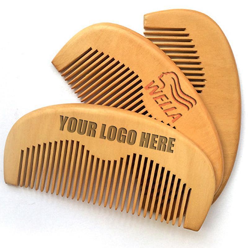 MOQ 500pcs seu logotipo personalizado Private Label Combs logotipo gravado Madeira Comb Beard pente de madeira pente de cabelo Presentes Beauty Barber Promoção Loja