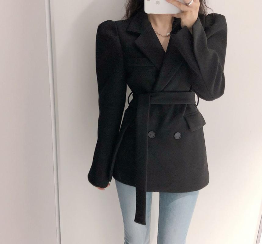 HziriP Spring New Fashion Woolen Blazer Coat Women Double-breasted Bubble Sleve Work Jacket Office Lady Slim Blazers