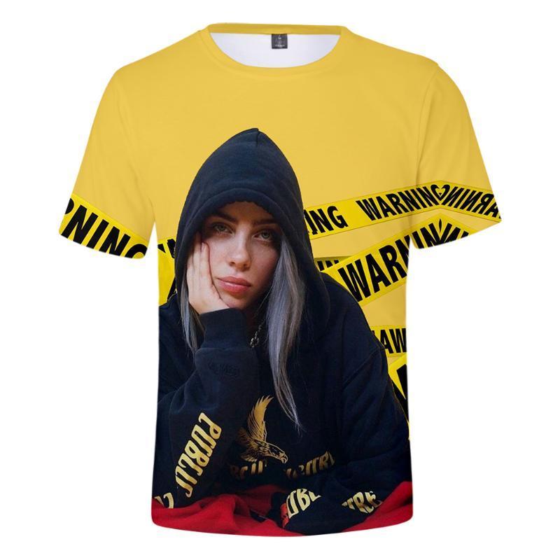 Billie Eilish New When We All Fall Asleep, куда мы идем? 3D футболки Мужчины / Женщины с коротким рукавом рубашки Одежда горячей продажи