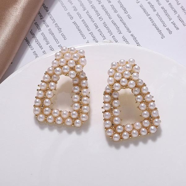 All'ingrosso-Nuovo alla moda caldo di lusso stilista esagerato orecchini scatola di vite prigioniera del quadrato geometriche pieno di perle per le donne