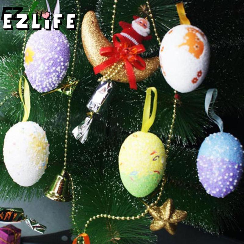 6Pcs New Foam Easter Eggs Hanging Decorations Baskets Ornaments Decor Home