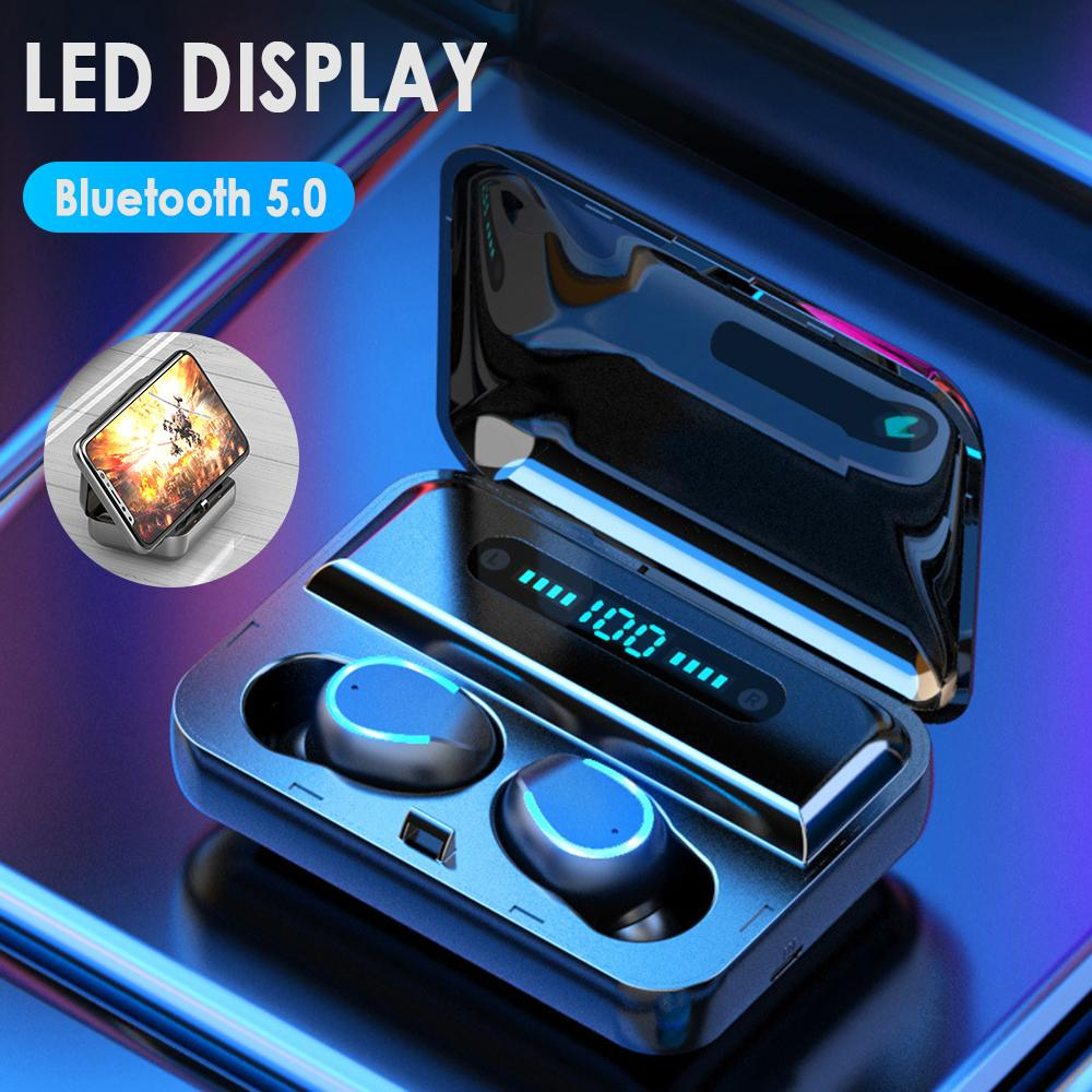 TWS F9 F9-5 Wireless Earphone Bluetooth v5. 0 Mini Smart Touch Earbuds LED Display With 1200mAh Power Bank Headset and Mic