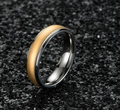 Moda semplici anelli in puro titanio 6mm Larghezza di nozze anelli di fidanzamento in oro rosa di colore per gli uomini donne gioielli regali di bague femme