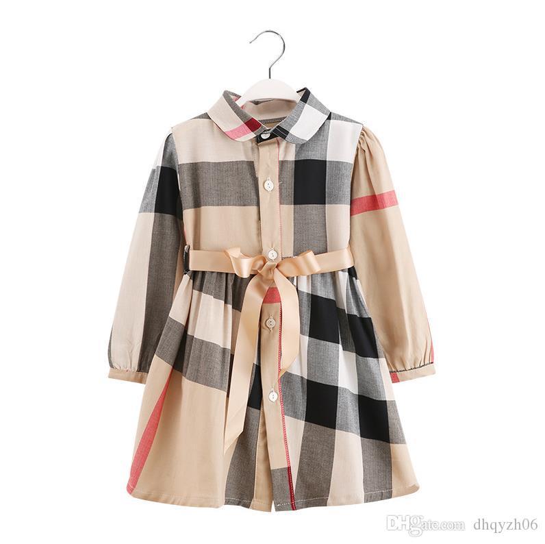 2020 고품질 디자인 봄과 가을 새로운 여자 긴팔 드레스 패션 어린이 코튼 공주 드레스 체크 무늬 Khaki 무료 배송