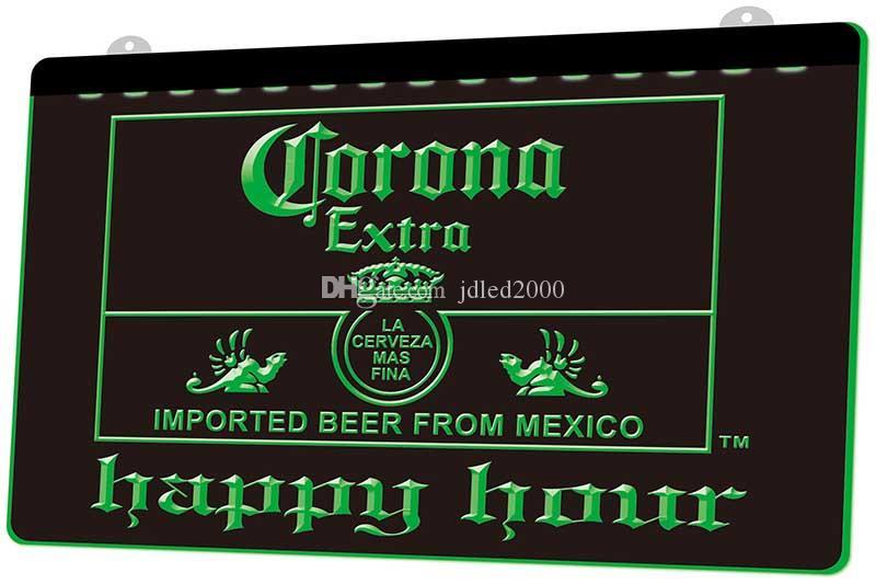 LS0765 0 Corona Extra Beer Happy Hour Bar RGB многоцветный пульт дистанционного управления 3D гравировка светодиодная неоновая вывеска магазин бар паб клуб