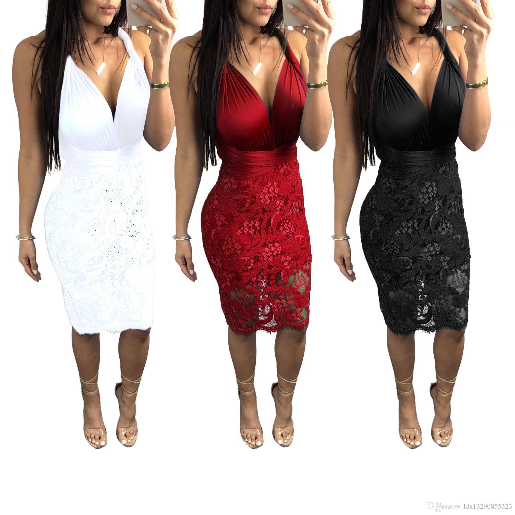 Multi-way Lace Midi Dress Women Back Cross Bodycon Bandage Dress Party Clubwear