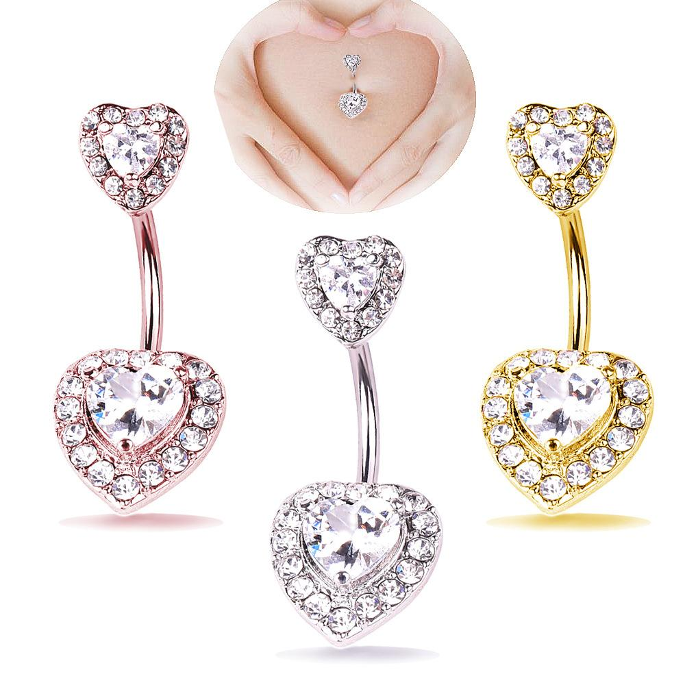 Double Love Heart Zircon Crystal Body Jewelry Stainless Steel Rhinestone Navel & Bell Button Piercing Rings for Women Gift