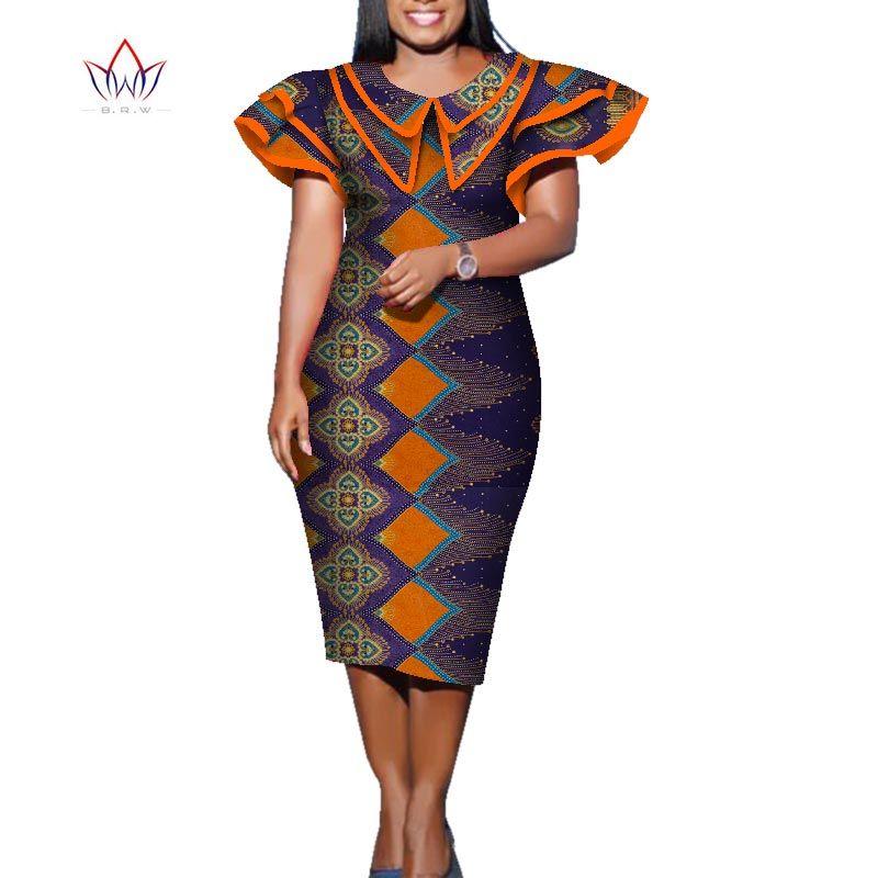 2020 лето Африканский платье для женщин Африки Базен Riche Печать Элегантный Mid-теленок леди платье плюс размер женщин Midi платье WY5708