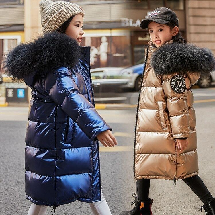 2019 Fashion Brand Girl Down Jacket Warm Baby Children Down Parkas Coat Fur Kid Teenager Thickening Outerwear For Cold Winter T191026
