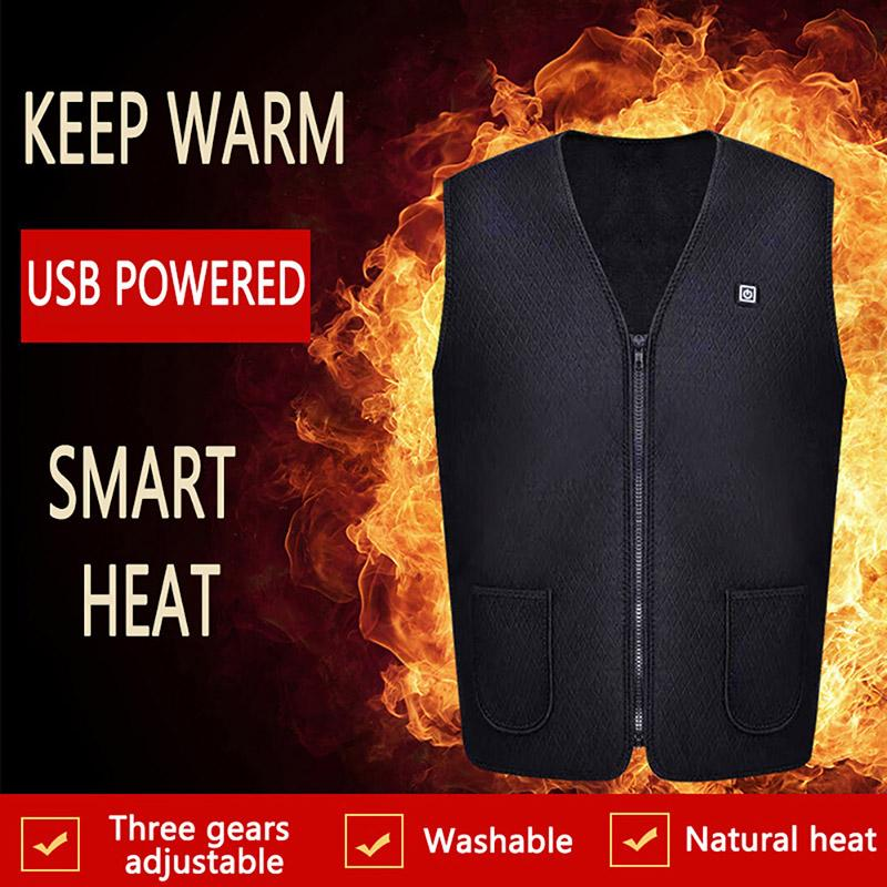 Men's And Women's Outdoor USB Infrared Heating Electric Flexible Zipper Slim Vest Winter Warm Jacket Sports Hiking Clothes