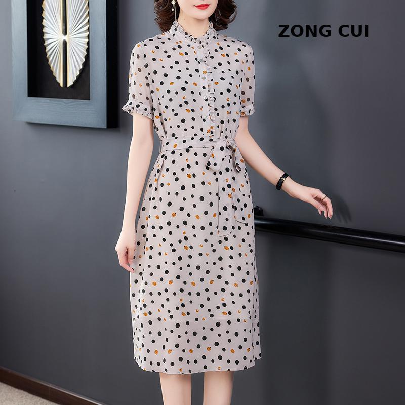 bel kuşağı göstermek ince mizaç dut ipek A-şekilli elbise Plus boyutu nokta ipek elbise kadın yeni yaz kısa kollu