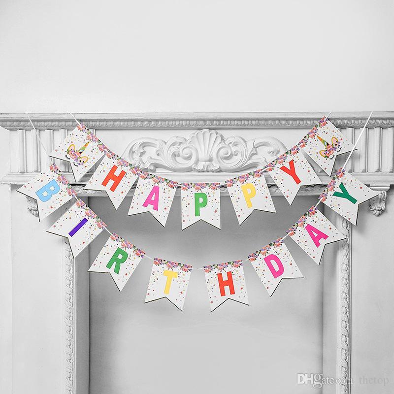 Единорог С Днем Рождения Флаги Милые Дети День Рождения Украшения Инструмент Детский Флаг Партии
