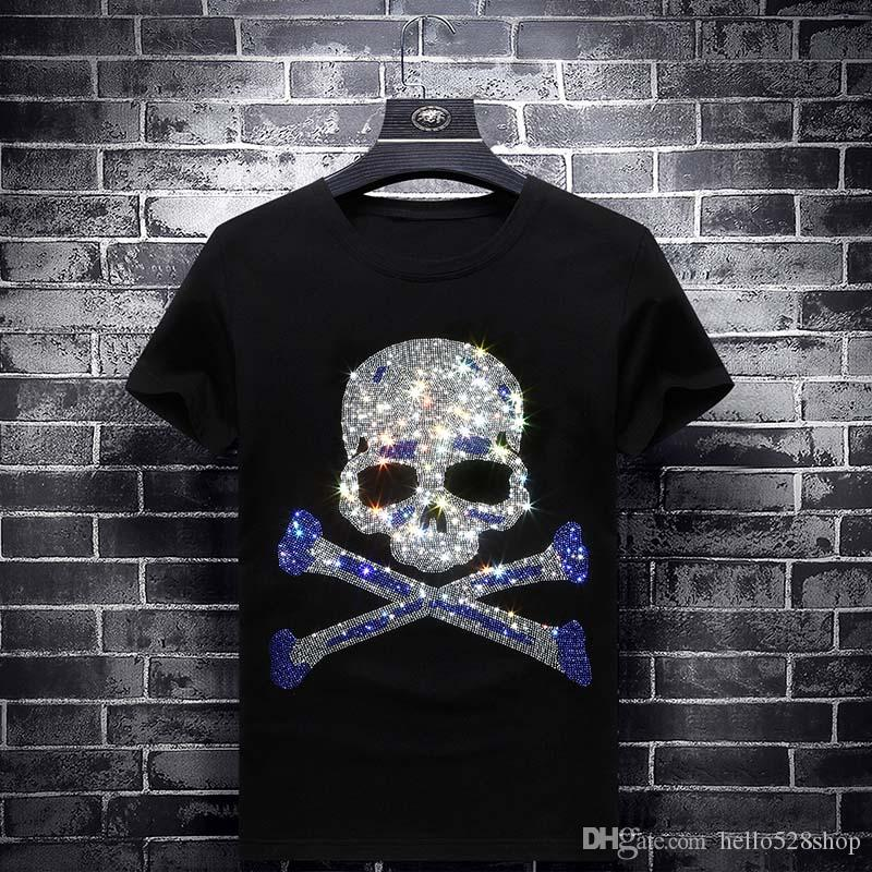 Mens Designer Rhinestone Short Sleeve T-Shirt Top Short Sleeve Hip Hop Crew Neck Casual Shirts Unisex S-7XL Summer Casual
