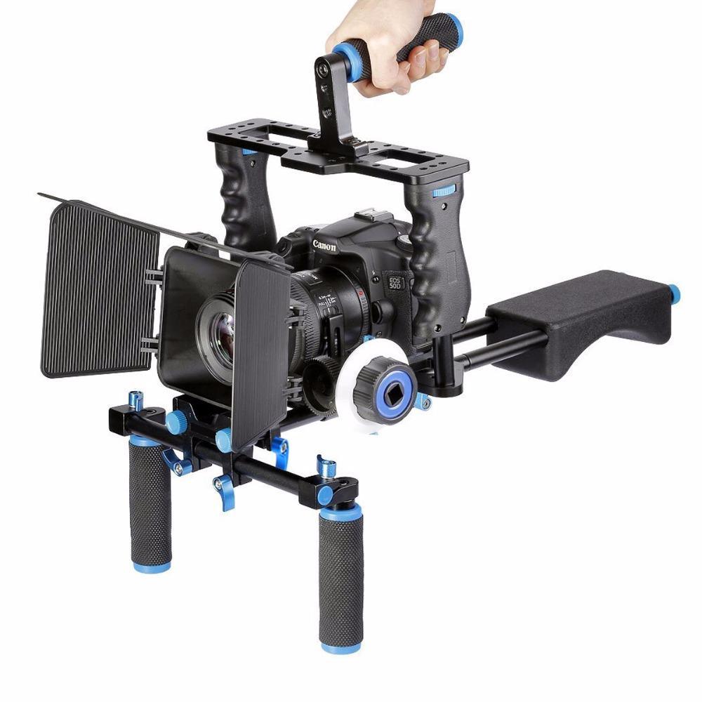 Freeshipping DSLR 조작 장치 비디오 안정 장치 어깨 장착 조작 + 매트 박스 + Canon Nikon Sony Dslr 카메라 비디오 캠코더 용 Focus + Dslr 케이지 따라 가기
