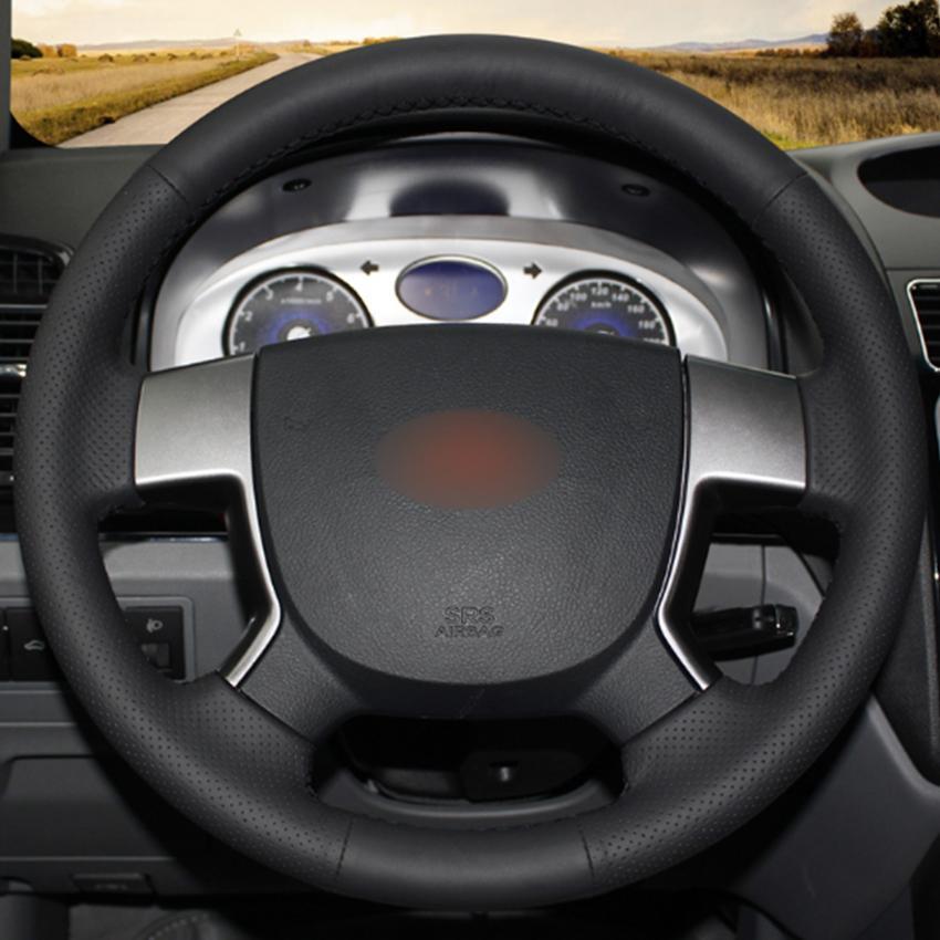 Cubierta de rueda negro natural de piel de coche para Geely EC7 EMGRAND EC715 EC718