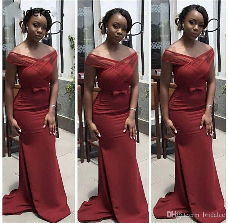 2020 Burgundy Off The Shoulder Mermaid Long Bridesmaid Dresses Zipper Back Trumpet Satin Cheap Bridesmaid Gown With Bow