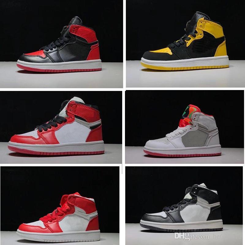 Bebek Küçük Little Big Çocuk Basket Ayakkabısı Siyah Kırmızı Mavi Çocuk 1 Erkekler Kızlar Sneaker Gençlik Çocuk Bebek Spor Eğitmenler 1s baned Bred