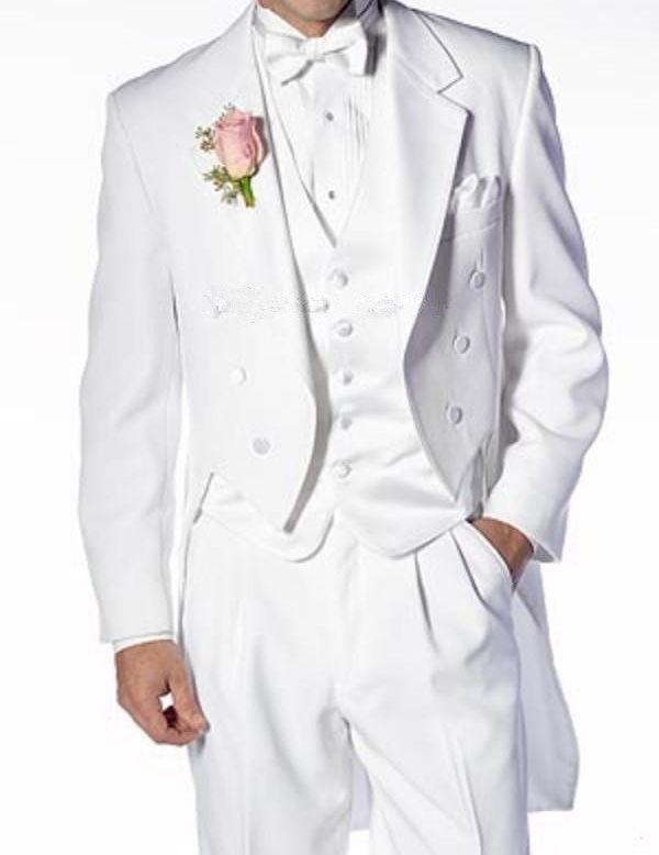 Фрак / утренний стиль жениха смокинги белого жениха отворотом лучший мужской костюм свадебные / мужские костюмы жених (куртка + брюки + жилет + галстук) A573
