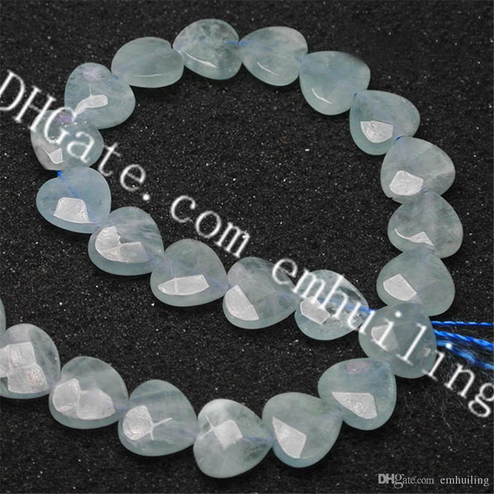 1 Strand 14mm Mini Natural Aquamarine Heart Shape Faceted Blue Gemstone Loose Beads Cut Polished Aquamarine Crystal Heart Charm DIY Beads